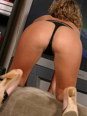 Cute teen Alyssa Roxi shows off her tight round ass in a tiny black thong