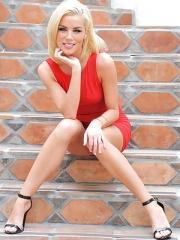 Heather blonde in red